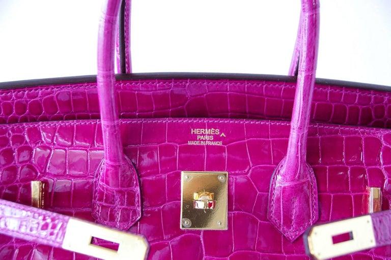 Hermes Birkin 35 Bag Scherezade Porosus Crocodile Gold Hardware  3