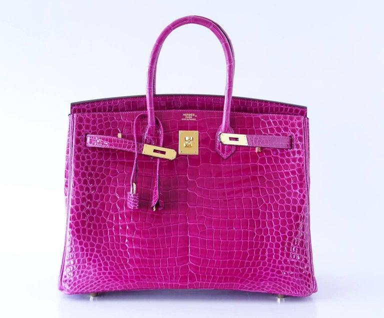 Hermes Birkin 35 Bag Scherezade Porosus Crocodile Gold Hardware  5