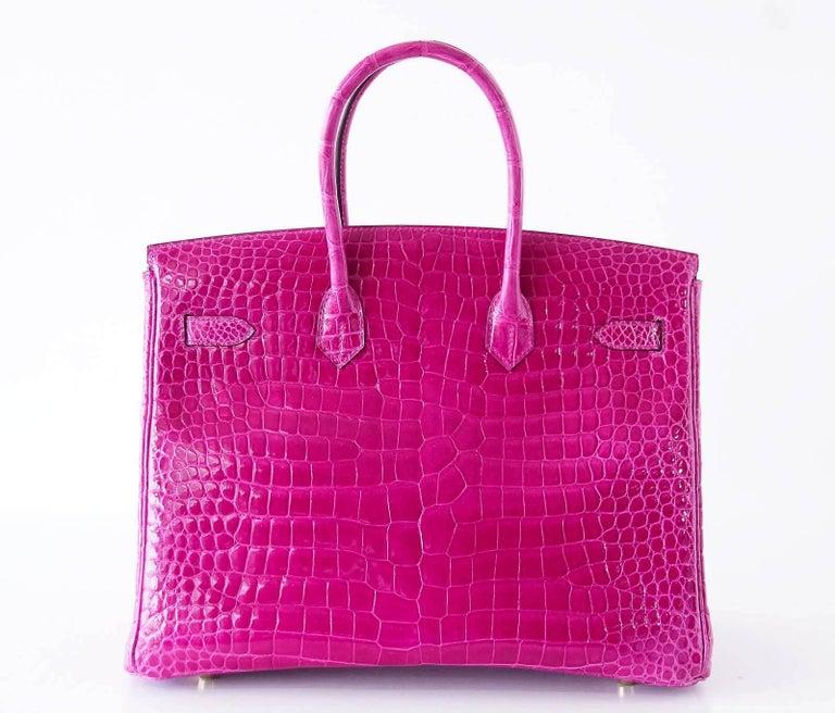 Hermes Birkin 35 Bag Scherezade Porosus Crocodile Gold Hardware  6