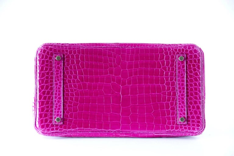 Hermes Birkin 35 Bag Scherezade Porosus Crocodile Gold Hardware  7