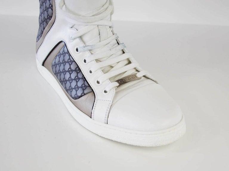 Gray Gucci Men's White Monogram GG Grey High Top Sneaker  9.5 G  For Sale