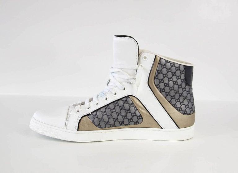 Gucci Men's White Monogram GG Grey High Top Sneaker  9.5 G  For Sale 1