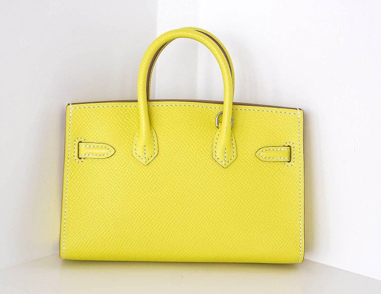 Hermes Birkin Bag Tiny Miniature Micro Lime Limited Edition  rare In Excellent Condition For Sale In Miami, FL