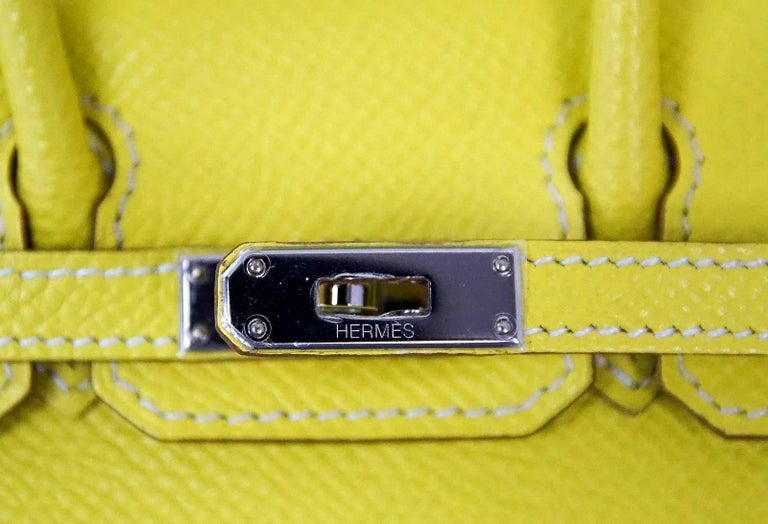 Yellow Hermes Birkin Bag Tiny Miniature Micro Lime Limited Edition  rare For Sale