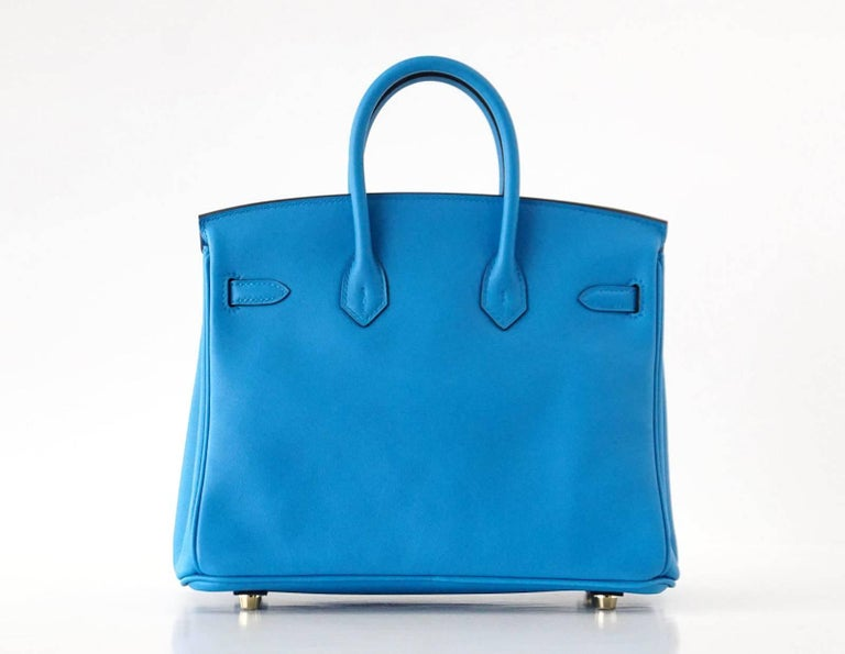 Hermes Birkin Bag 25 Blue Zanzibar Swift Gold Hardware For 2