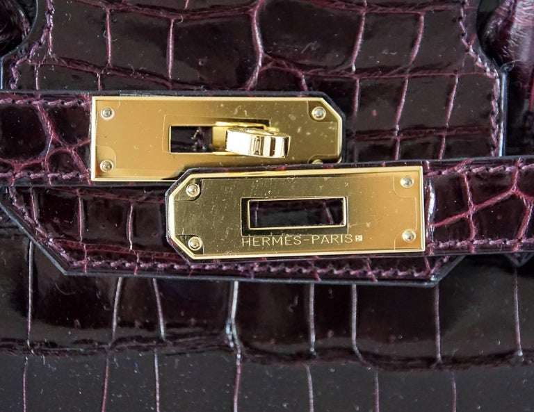 Hermes Birkin 35 Bag Bordeaux Porosus Crocodile Gold Hardware  2