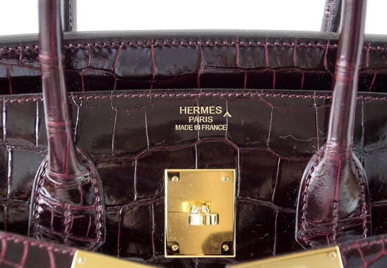 Hermes Birkin 35 Bag Bordeaux Porosus Crocodile Gold Hardware  4