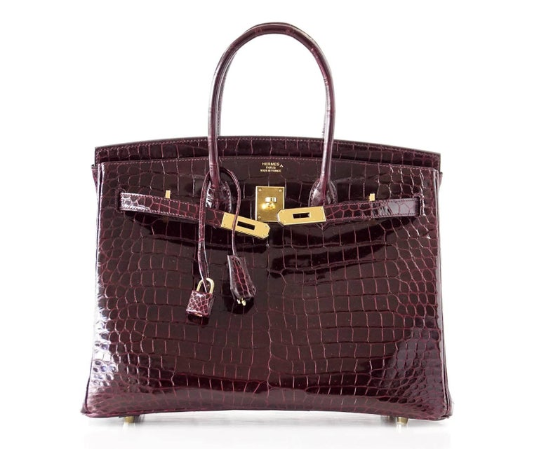 Hermes Birkin 35 Bag Bordeaux Porosus Crocodile Gold Hardware  5