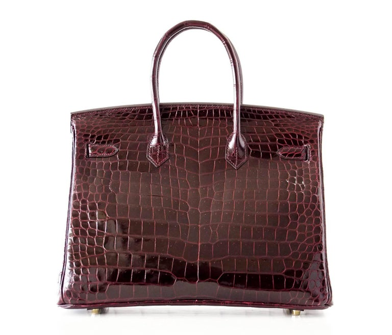 Hermes Birkin 35 Bag Bordeaux Porosus Crocodile Gold Hardware  6