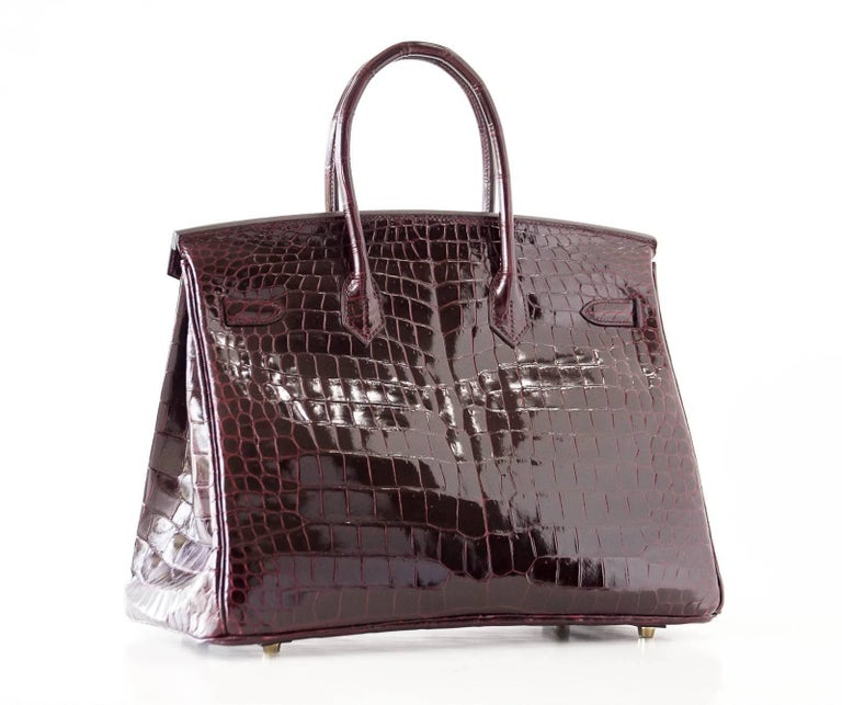 Hermes Birkin 35 Bag Bordeaux Porosus Crocodile Gold Hardware  7
