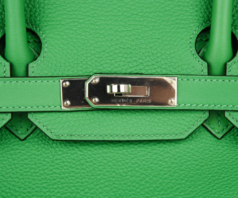 Green Hermes Birkin 35 Limited Edition Ghillies Bag Rare Bamboo Palladium Hardware For Sale