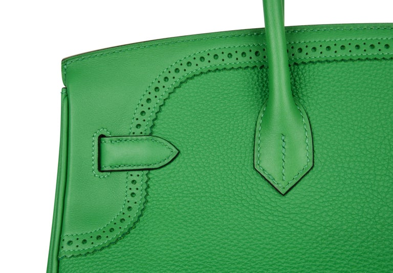 Hermes Birkin 35 Limited Edition Ghillies Bag Rare Bamboo Palladium Hardware For Sale 4