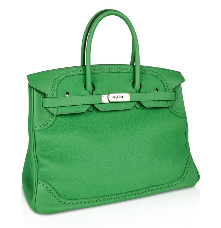 Hermes Birkin 35 Limited Edition Ghillies Bag Rare Bamboo Palladium Hardware For Sale 1