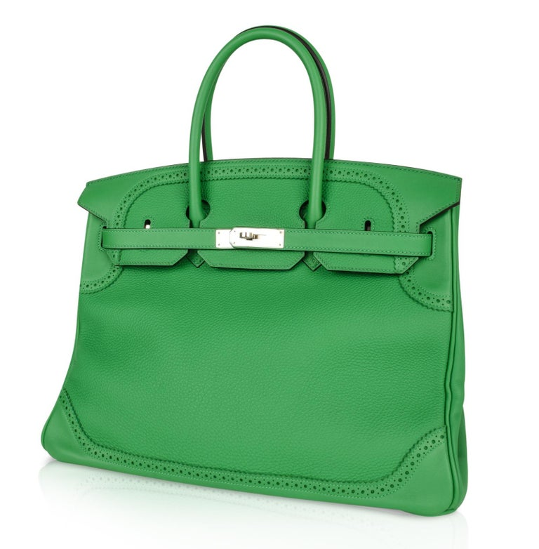 Hermes Birkin 35 Limited Edition Ghillies Bag Rare Bamboo Palladium Hardware In Excellent Condition For Sale In Miami, FL