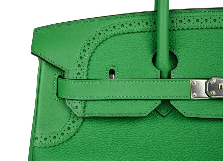 Women's Hermes Birkin 35 Limited Edition Ghillies Bag Rare Bamboo Palladium Hardware For Sale