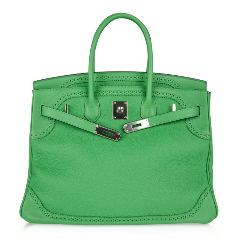 Hermes Birkin 35 Limited Edition Ghillies Bag Rare Bamboo Palladium Hardware For Sale 2