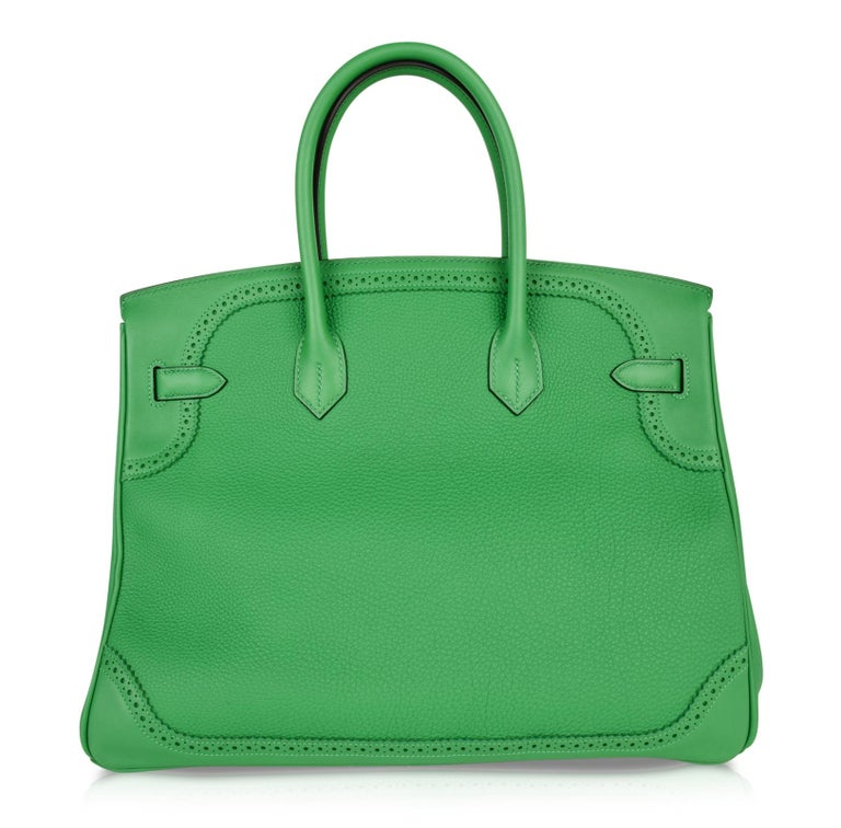 Hermes Birkin 35 Limited Edition Ghillies Bag Rare Bamboo Palladium Hardware For Sale 5