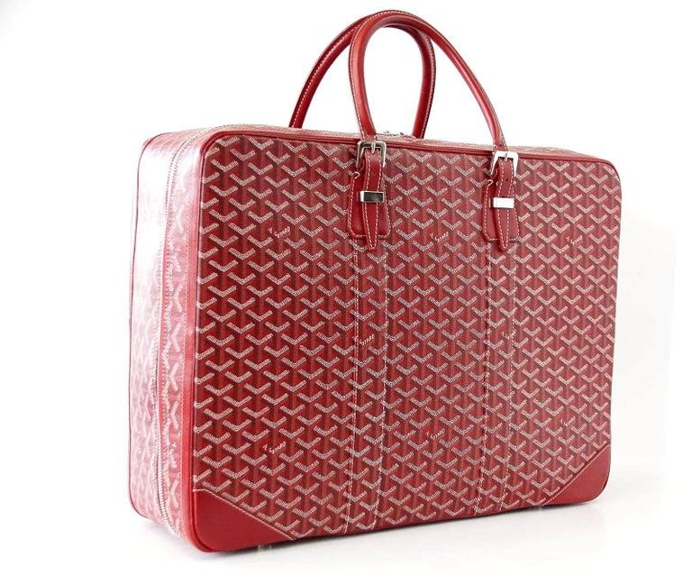 Goyard Suitcase Soft Red Signature Monogram Majordome 50 Palladium Fittings 5