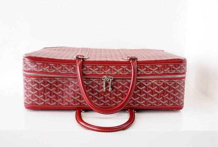Goyard Suitcase Soft Red Signature Monogram Majordome 50 Palladium Fittings 6