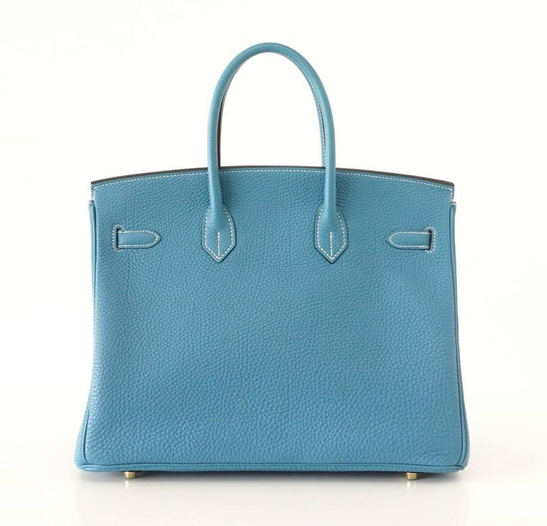 Hermes Birkin 35 Bag Iconic Blue Jean Togo Gold Hardware Rare 2