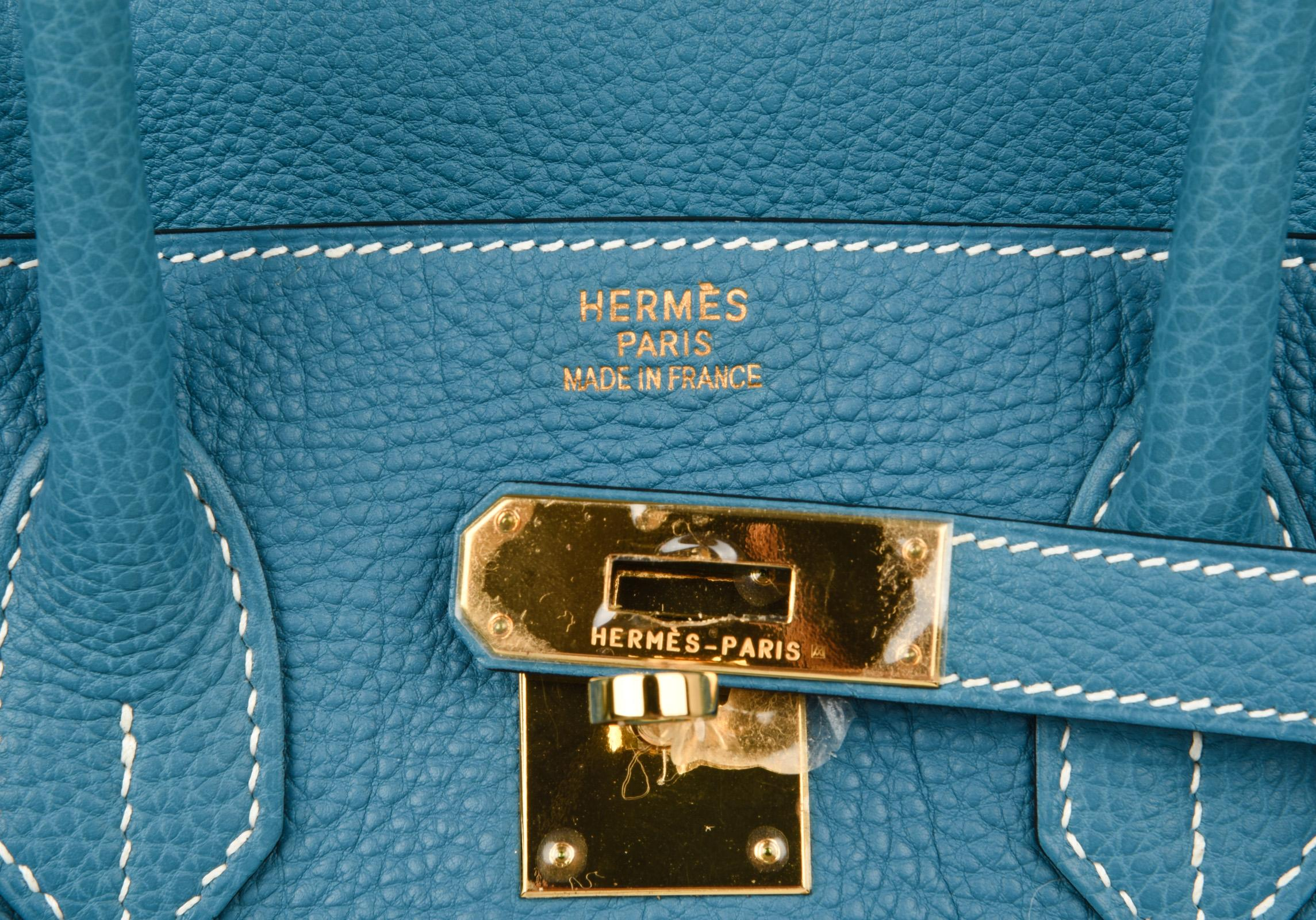 15045d4d88 ... coupon code for hermes birkin 35 bag iconic blue jean togo gold hardware  rare in new