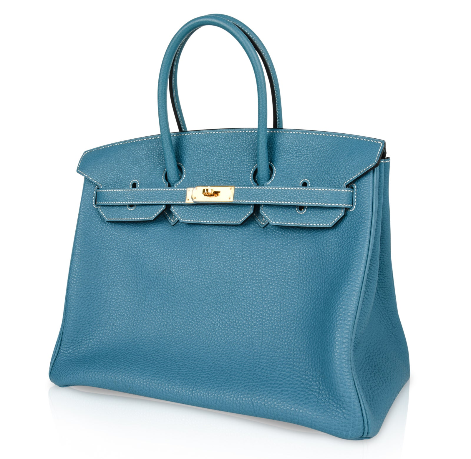 ad035d2858 Hermes Birkin 35 Bag Iconic Blue Jean Togo Gold Hardware Rare For Sale at  1stdibs