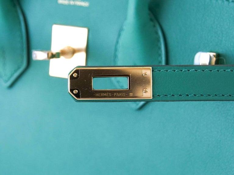 Blue Hermes Birkin Bag 25 Vert Vertigo Emerald Tone Swift Gold Hardware For Sale