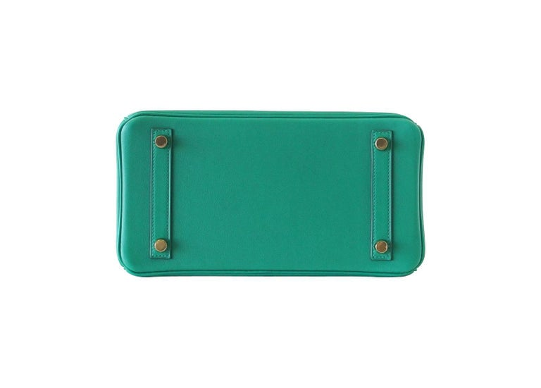 Hermes Birkin Bag 25 Vert Vertigo Emerald Tone Swift Gold Hardware For Sale 3