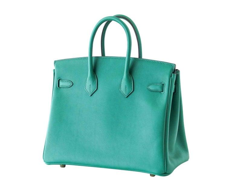 Hermes Birkin Bag 25 Vert Vertigo Emerald Tone Swift Gold Hardware For Sale 1