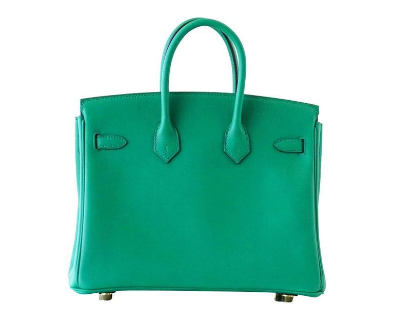 Hermes Birkin Bag 25 Vert Vertigo Emerald Tone Swift Gold Hardware For Sale 2