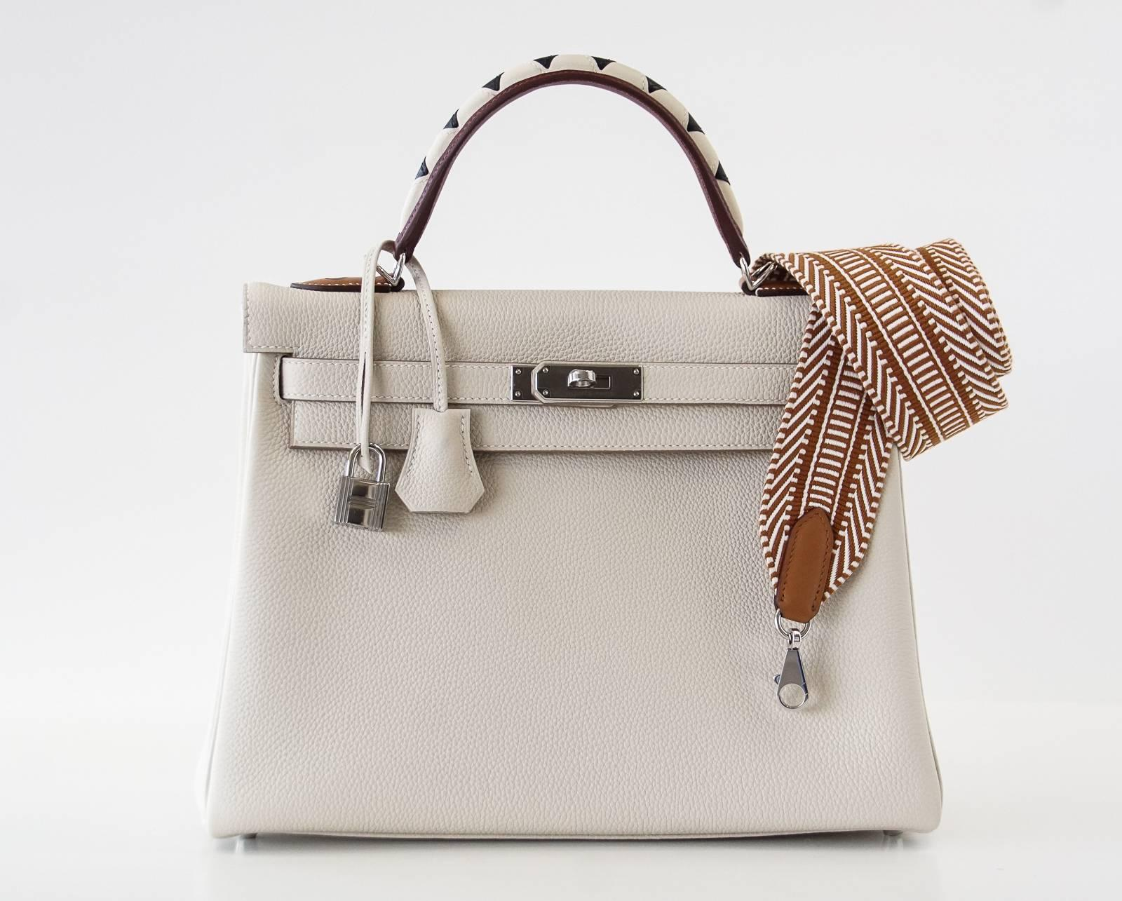 d1608b6f73a8 new zealand hermes white kelly 28cm bag with zigzag handle 72f2d 42f02  low  price brown hermes strap canvas amazon zig zag limited edition for kelly  bolide ...