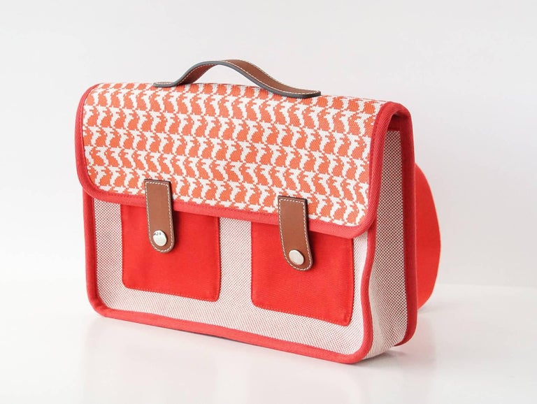 Orange Hermes Bag Animaux Pixel Backpack Printed Red Canvas Limited Edition For Sale