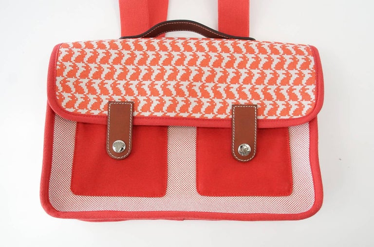 Hermes Bag Animaux Pixel Backpack Printed Red Canvas Limited Edition For Sale 1