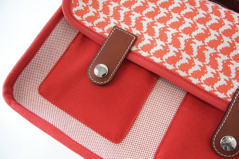 Hermes Bag Animaux Pixel Backpack Printed Red Canvas Limited Edition For Sale 2