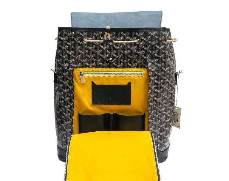 Goyard Alpin Backpack Black Chevron and Calfskin For Sale 1