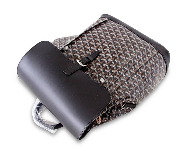 Goyard Alpin Backpack Black Chevron and Calfskin In New never worn Condition For Sale In Miami, FL