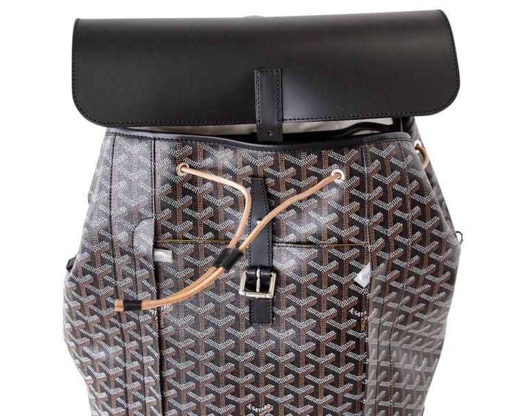 Women's or Men's Goyard Alpin Backpack Black Chevron and Calfskin For Sale