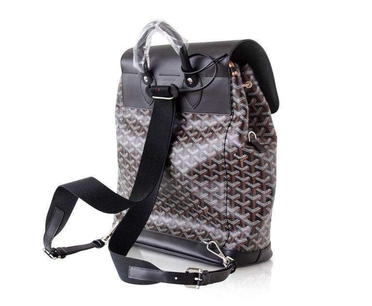 Goyard Alpin Backpack Black Chevron and Calfskin For Sale 4