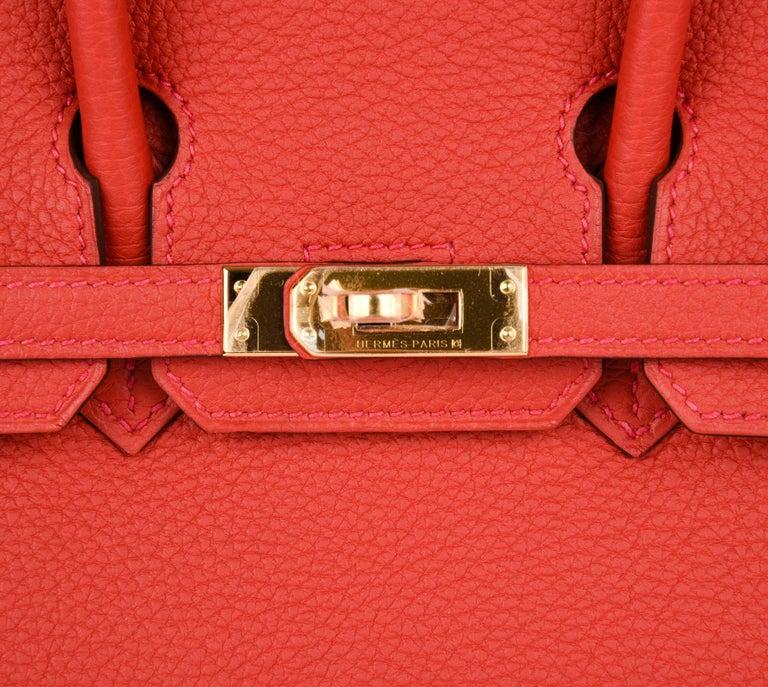 Women s Hermes Birkin Bag 25 Geranium Red Gold Hardware Togo Leather For  Sale bbec463ef9
