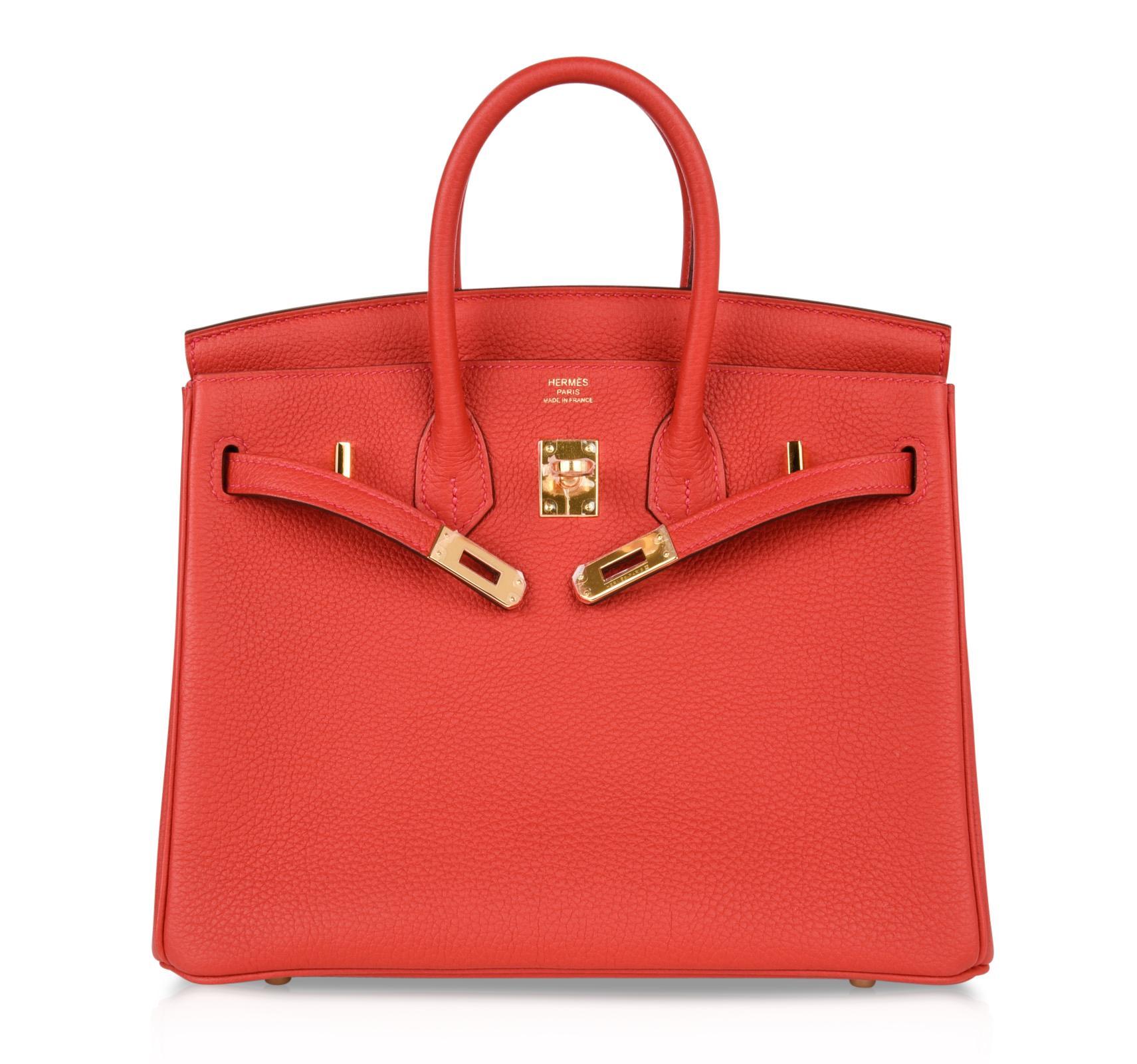 Hermes Birkin Bag 25 Geranium Red Gold Hardware Togo Leather For Sale at  1stdibs f2e072ca7c772
