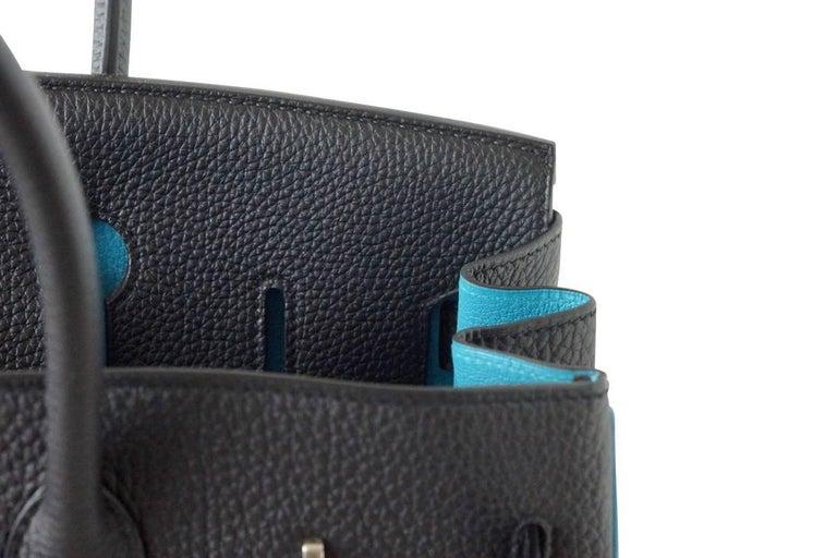 Hermes Birkin 35 Bag Black Turquoise Bi Color Hss Brushed Palladium In New Condition For