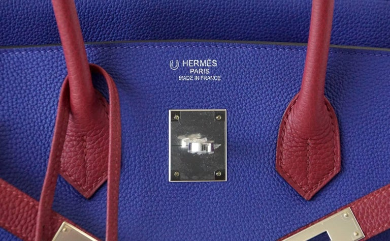Purple Hermes Birkin 35 Bag HSS Electric Blue Rouge Grenat Togo Leather Palladium For Sale