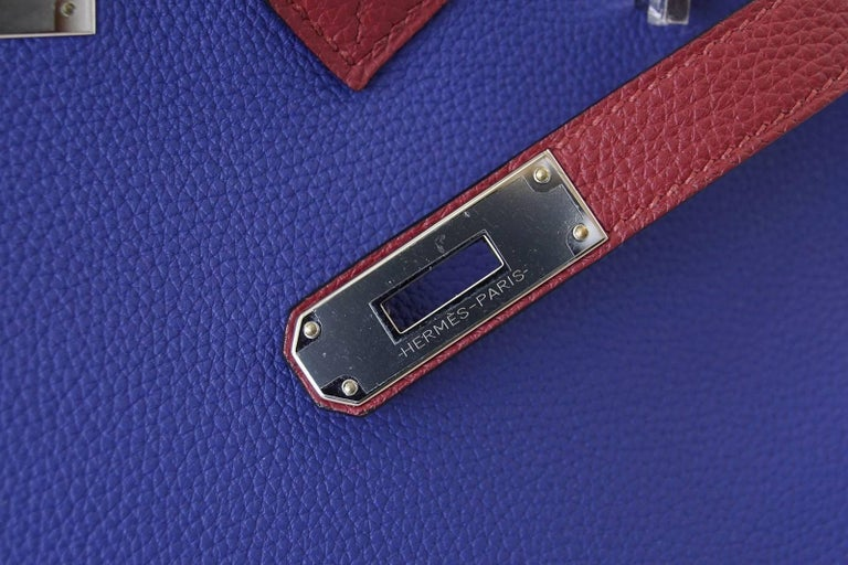 Hermes Birkin 35 Bag HSS Electric Blue Rouge Grenat Togo Leather Palladium In New Condition For Sale In Miami, FL