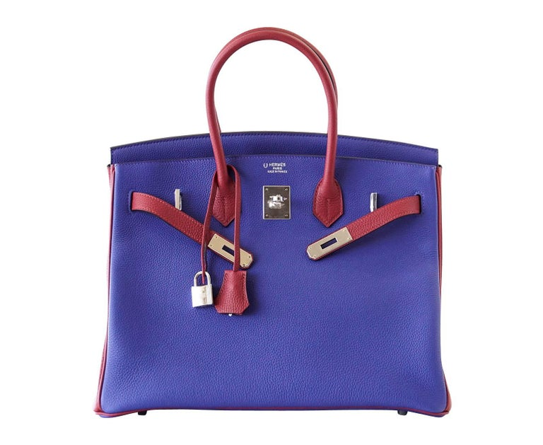 Hermes Birkin 35 Bag HSS Electric Blue Rouge Grenat Togo Leather Palladium For Sale 1