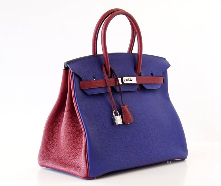 Hermes Birkin 35 Bag HSS Electric Blue Rouge Grenat Togo Leather Palladium For Sale 2