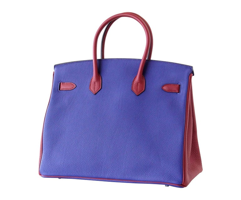 Hermes Birkin 35 Bag HSS Electric Blue Rouge Grenat Togo Leather Palladium For Sale 3