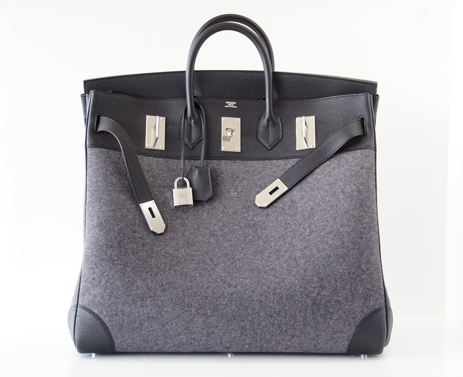 a901e432de14 Hermes Birkin Rare 50 Bag Hac Gris Moyen Grey Todoo Feutre Black Togo  Palladium For Sale at 1stdibs