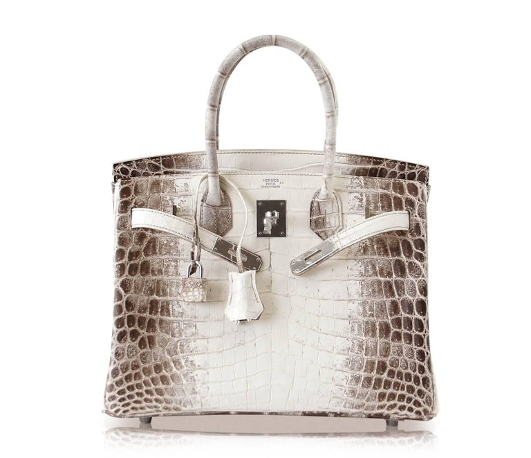 Women's or Men's Hermes Birkin 30 Bag Exquisite Blanc Himalaya Palladium Hardware For Sale
