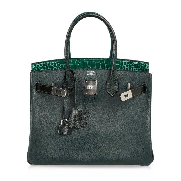 Hermes Birkin 30 Bag Limited Edition Camouflage Emerald Green Crocodile 9