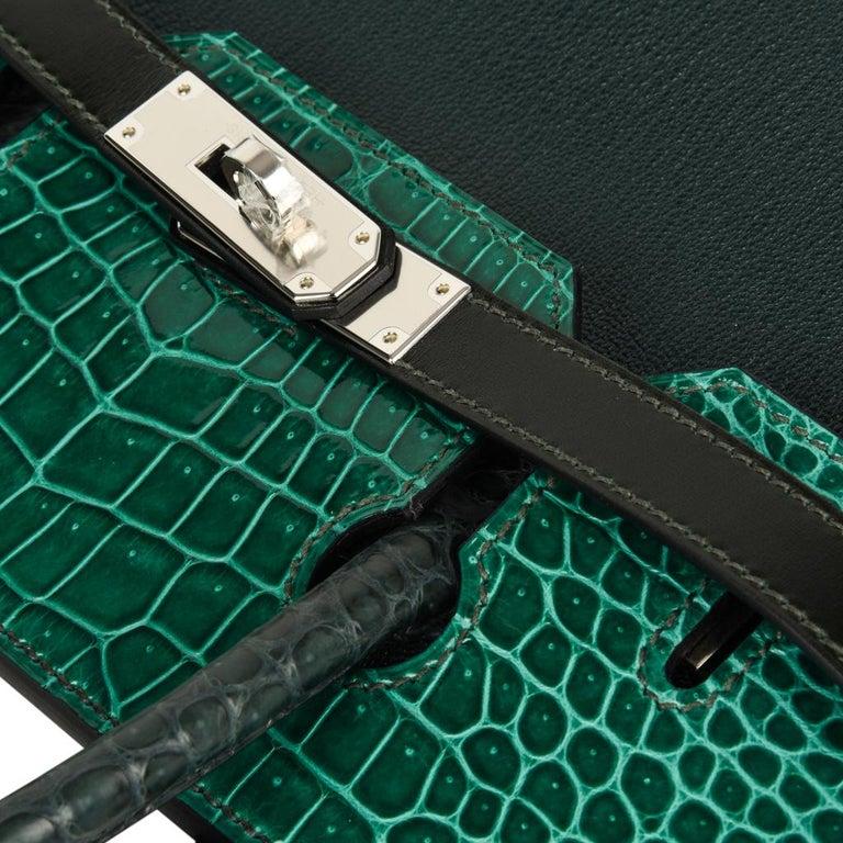 Hermes Birkin 30 Bag Limited Edition Camouflage Emerald Green Crocodile 5